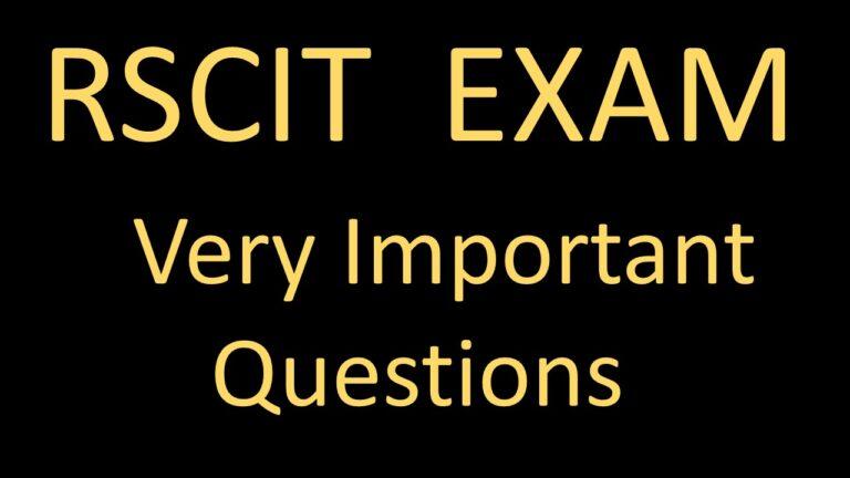 rscit-important-questions